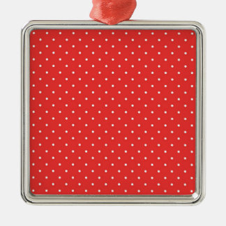 Plantilla blanca roja del personalizado del fondo adorno navideño cuadrado de metal