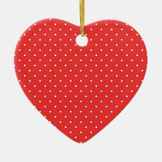 Plantilla blanca roja del personalizado del fondo adorno navideño de cerámica en forma de corazón