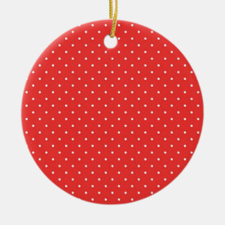 Plantilla blanca roja del personalizado del fondo adorno navideño redondo de cerámica