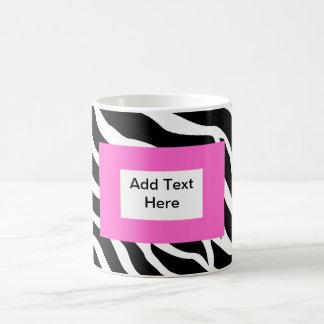 Plantilla blanca rosada de la cebra taza de café