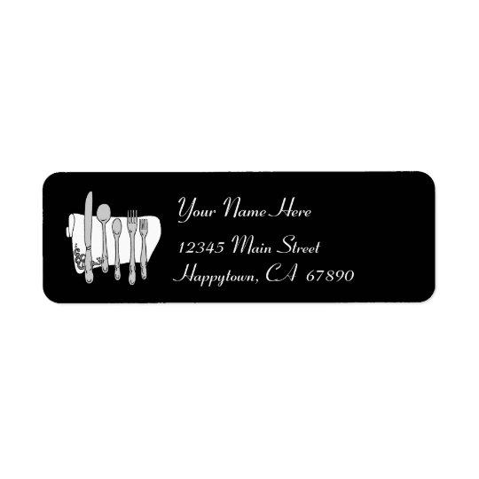 Plantilla blanco y negro de la etiqueta de etiqueta de remite