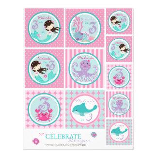 Plantilla Bru3 del primero de little mermaid Tarjeta Publicitaria