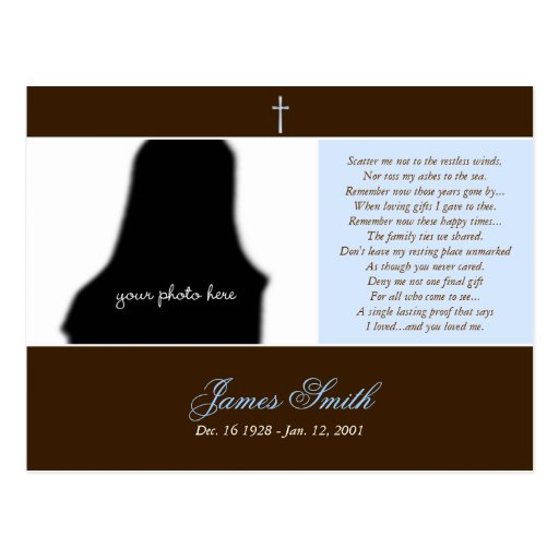 Plantilla conmemorativa fúnebre de la foto de la t postal