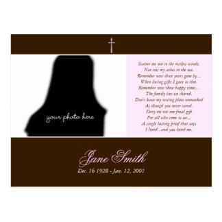 Plantilla conmemorativa fúnebre de la foto de la postal