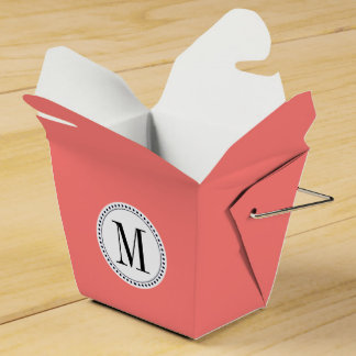 Plantilla coralina coralina del monograma caja para regalos de fiestas