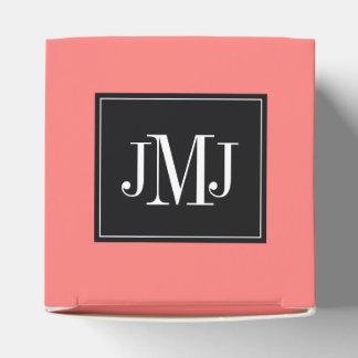 Plantilla coralina coralina del monograma cajas para regalos de boda