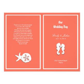 Plantilla coralina del programa del boda de playa