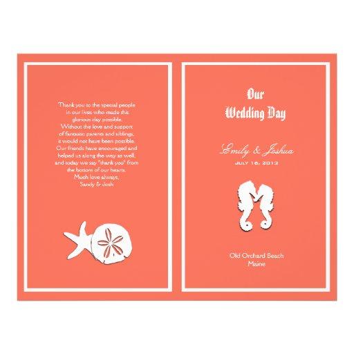 Plantilla coralina del programa del boda de playa  tarjetas publicitarias