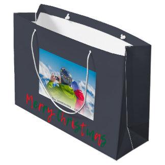 Plantilla cubierta escritura roja verde de las bolsa de regalo grande