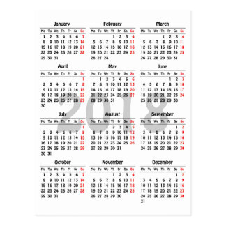 plantilla de 2018 calendarios postal