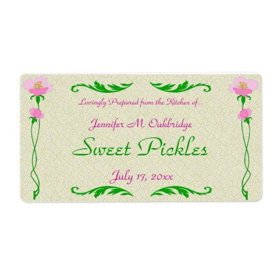Plantilla de enlatado casera floral de la etiqueta etiqueta de envío