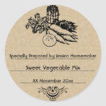Plantilla de enlatado vegetal pasada de moda etiquetas redondas
