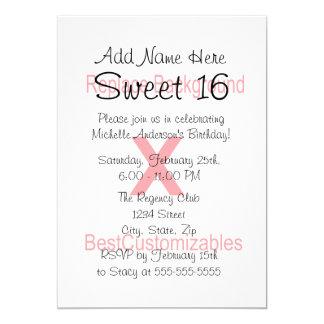 Plantilla de la fiesta de cumpleaños del dulce 16 invitación 12,7 x 17,8 cm