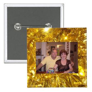 Plantilla de la foto con el botón del marco del or pins