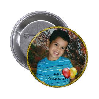 Plantilla de la foto del círculo de Feliz Cumplean Chapa Redonda De 5 Cm