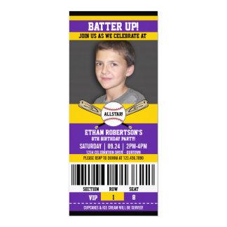 Plantilla de la foto del cumpleaños del béisbol invitación 10,1 x 23,5 cm