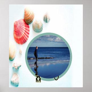 Plantilla de la foto del fondo de los Seashells Posters