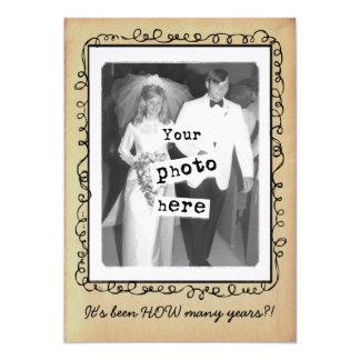 Plantilla de la foto del vintage del aniversario invitación 12,7 x 17,8 cm