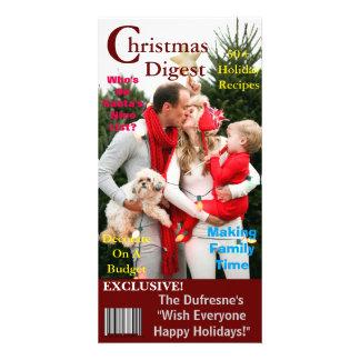 Plantilla de la portada de revista del navidad tarjetas fotográficas personalizadas
