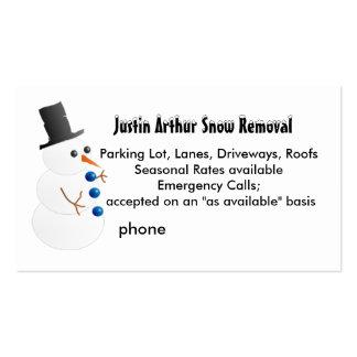 Plantilla de la retirada de la nieve con el muñeco tarjetas de visita