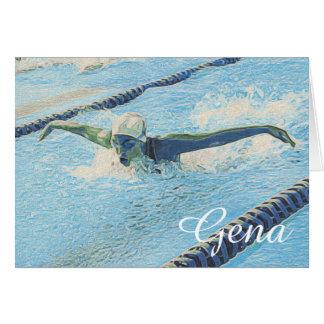 Plantilla de las tarjetas de nota de la natación