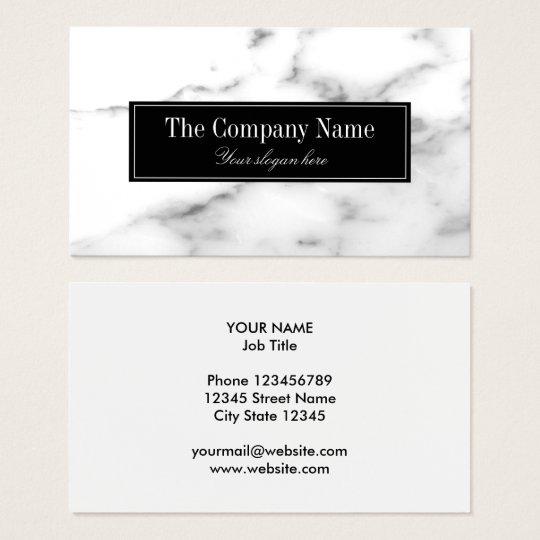 Plantilla de piedra de mármol blanca de lujo de la tarjeta de visita
