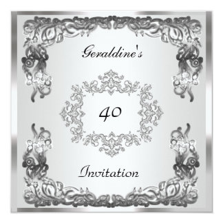 Plantilla de plata elegante del cumpleaños de la invitación 13,3 cm x 13,3cm