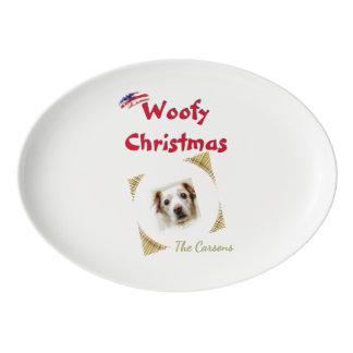 Plantilla del mascota del navidad de Woofy de la Plato De Porcelana