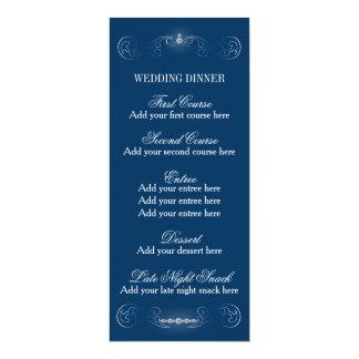 Plantilla del menú de la bodas de plata azul y invitación 10,1 x 23,5 cm