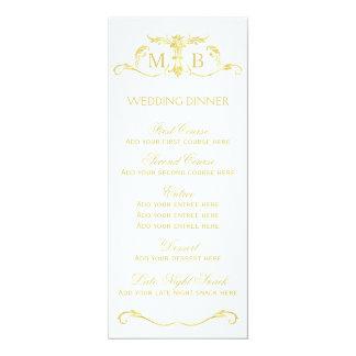 Plantilla del menú de la cena de boda del oro invitación 10,1 x 23,5 cm