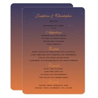 Plantilla del menú de la puesta del sol invitación 11,4 x 15,8 cm