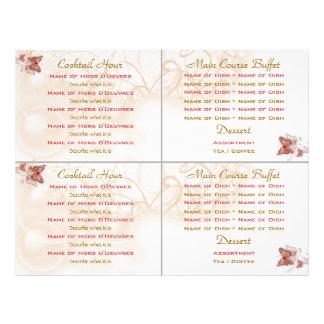 Plantilla del menú del boda de la comida fría del  tarjetas publicitarias
