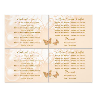 Plantilla del menú del boda de la comida fría del  tarjetas informativas