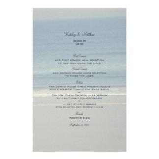 Plantilla del menú del boda del amor del océano