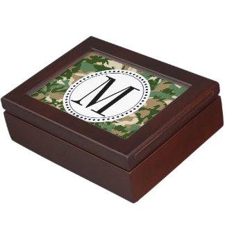 Plantilla del monograma del camuflaje del safari caja de recuerdos