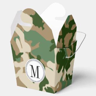 Plantilla del monograma del camuflaje del safari cajas para detalles de boda
