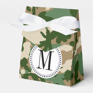 Plantilla del monograma del camuflaje del safari cajas para regalos