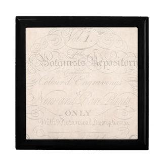 Plantilla del papel de pergamino del botánico del caja de recuerdo