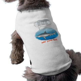 Plantilla del tiburón que habla camiseta sin mangas para perro