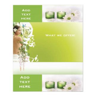 Plantilla del verde 2 del balneario del salón de b folleto 11,4 x 14,2 cm