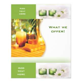 Plantilla del verde 3 del balneario del salón de b folleto 11,4 x 14,2 cm