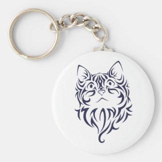 Plantilla delantera de la cara del gatito del gato llavero