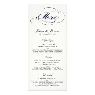 Plantilla elegante del menú del boda de la marina tarjeta publicitaria a todo color