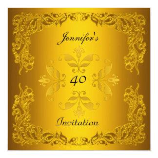 Plantilla elegante del oro del cumpleaños de la invitación 13,3 cm x 13,3cm