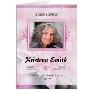 Plantilla fúnebre conmemorativa del programa tarjeta pequeña