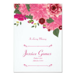 Plantilla fúnebre floral de la tarjeta de programa invitación 8,9 x 12,7 cm