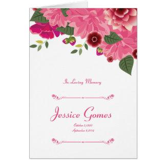 Plantilla fúnebre floral del programa tarjeta de felicitación