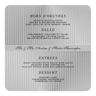 Plantilla gris del menú del boda alrededor o invitación 13,3 cm x 13,3cm