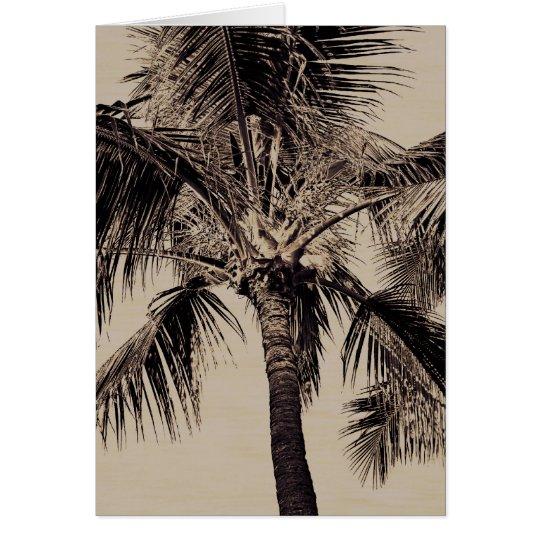 Plantilla hawaiana retra de la palmera de la sepia tarjeta pequeña
