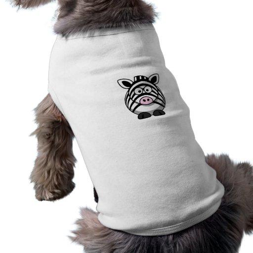 Plantilla linda de la cebra del dibujo animado camisetas de perro